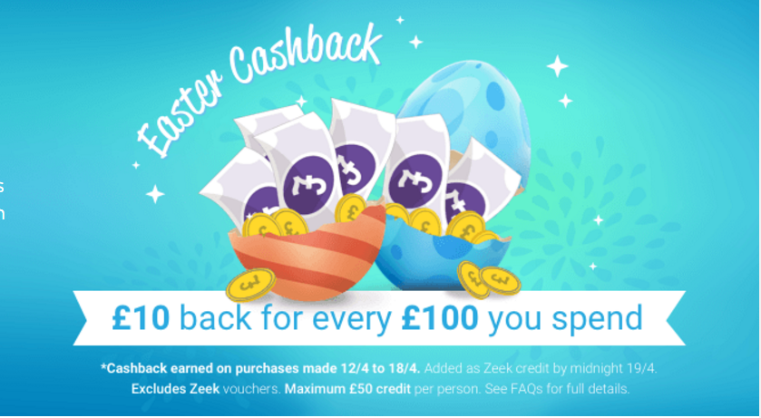 Zeek Easter Cash Back Promotion containing a picture of an Easter Egg