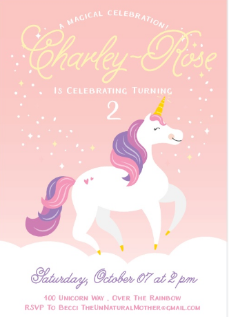 Unicorn Birthday Invite