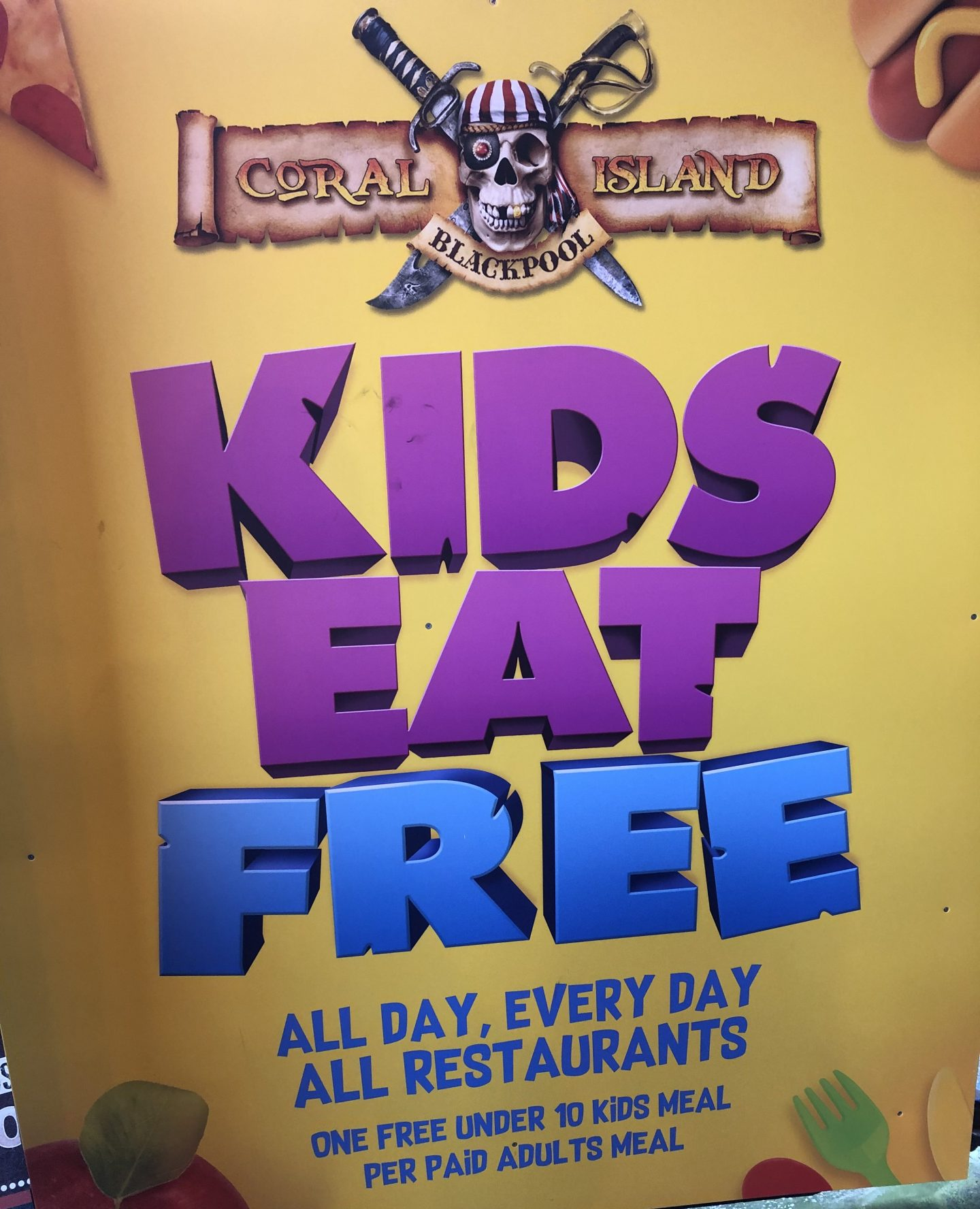 Kids eat free at coral island