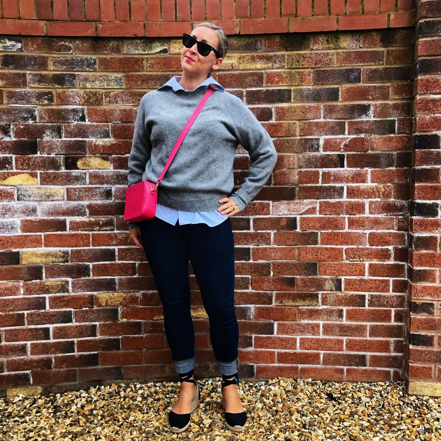 Becci wearing Castañer espadrilles styles with jeans and a jumper