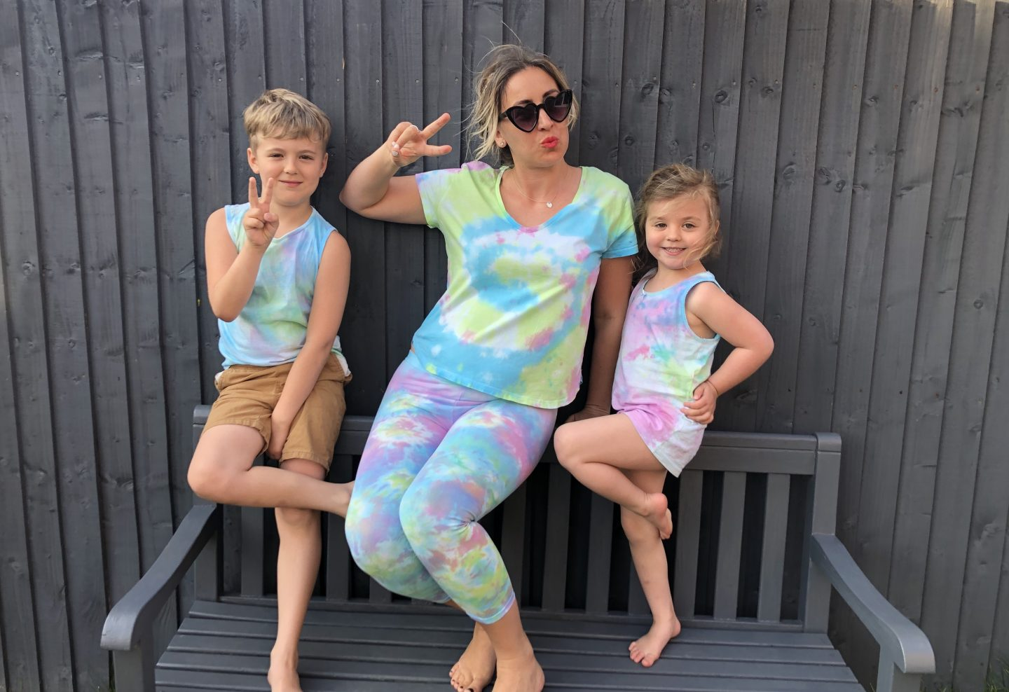 Becci and the kids wearing their tie dye clothes